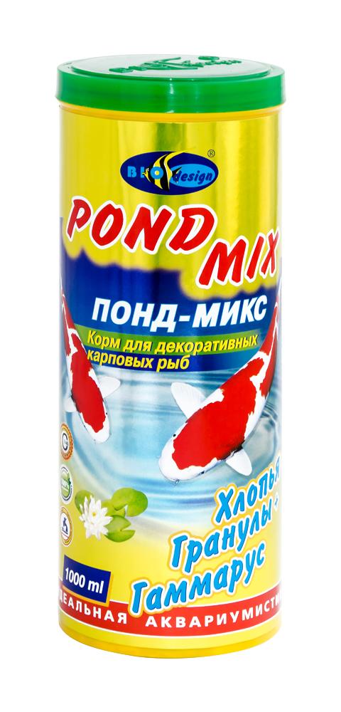 ПОНД-МИКС хлопья, гранулы и гаммарус основной корм для прудовых рыб (банка 1000 мл) 911285