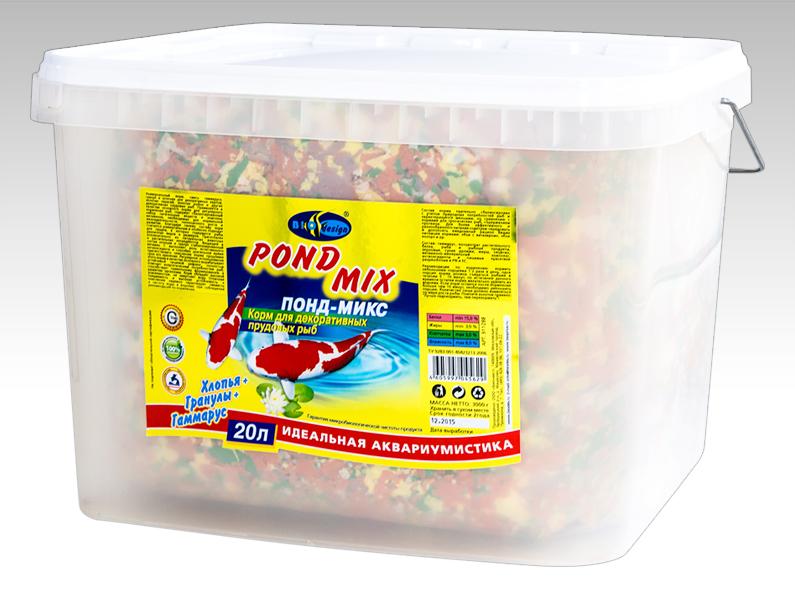 ПОНД-МИКС хлопья, гранулы и гаммарус основной корм для прудовых рыб (ВЕДРО 20 литров) 911288