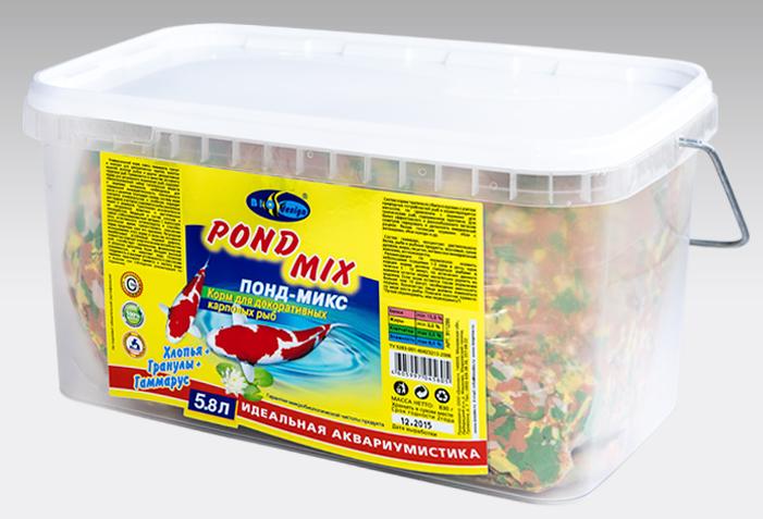ПОНД-МИКС хлопья, гранулы и гаммарус основной корм для прудовых рыб (ВЕДРО 5,8 литров) 911286