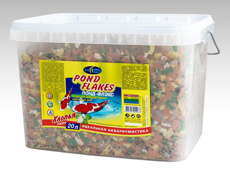 ПОНД-ФЛЭКС хлопья (flake) основной универсальный корм для прудовых видов рыб (ВЕДРО 20 литров) 911222