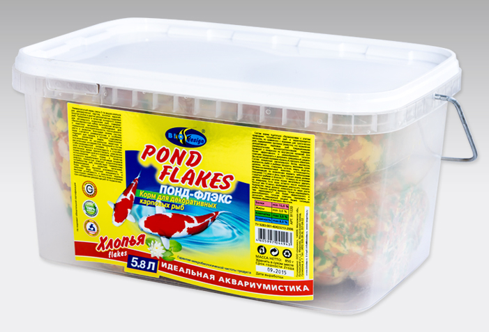 ПОНД-ФЛЭКС хлопья (flake) основной универсальный корм для прудовых видов рыб (ВЕДРО 5,8 литров) 911220