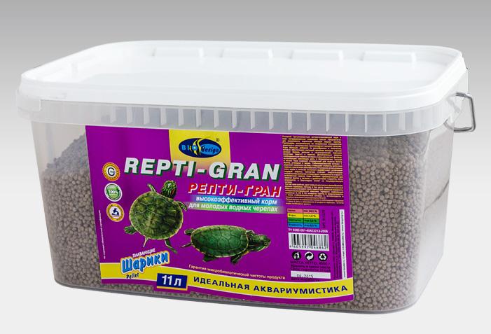 РЕПТИ-ГРАН плавающие гранулы корм для молодых водных черепах (ВЕДРО 11 литров) 911379