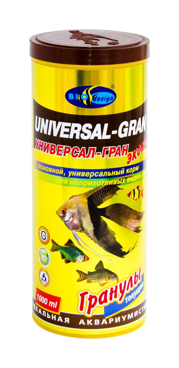 УНИВЕРСАЛ-ГРАН ЭКОНОМ тонущие гранулы основной универсальный корм для неприхотливых видов рыб (банка 1000 мл) 911212