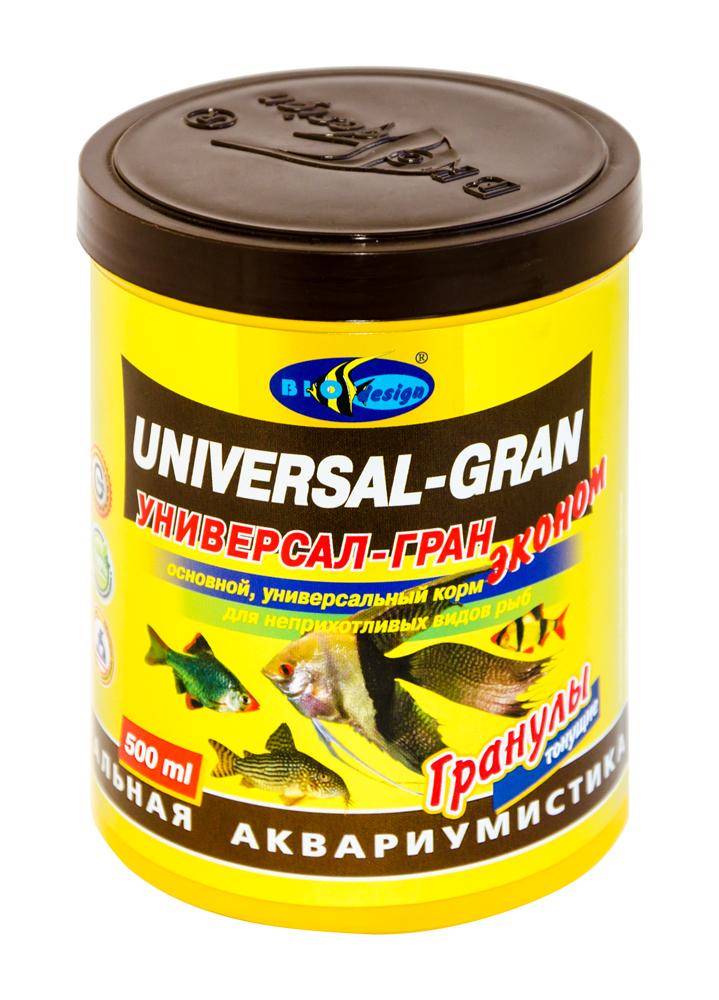 УНИВЕРСАЛ-ГРАН ЭКОНОМ тонущие гранулы основной универсальный корм для неприхотливых видов рыб (банка 500 мл) 911211