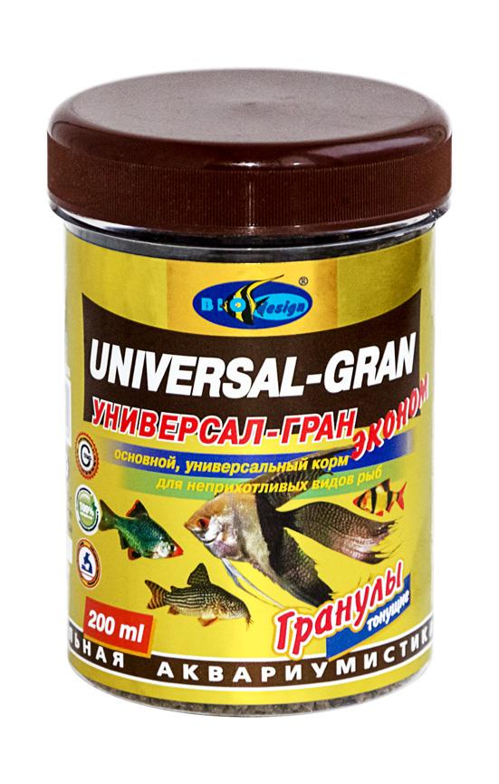 УНИВЕРСАЛ-ГРАН ЭКОНОМ тонущие гранулы основной универсальный корм для неприхотливых видов рыб (банка 200 мл) 911210