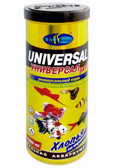 УНИВЕРСАЛ ЭКОНОМ хлопья (flake) основной универсальный корм для неприхотливых видов рыб (банка 1000 мл) 911256