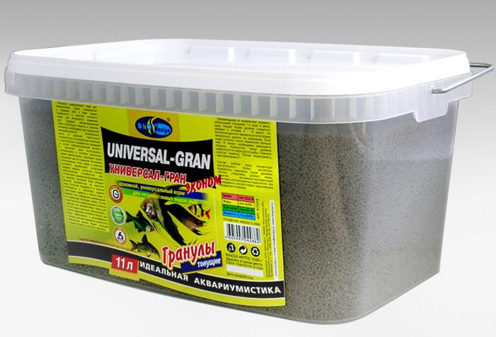 УНИВЕРСАЛ-ГРАН ЭКОНОМ тонущие гранулы основной универсальный корм для неприхотливых видов рыб (ВЕДРО 11 литров) 911214