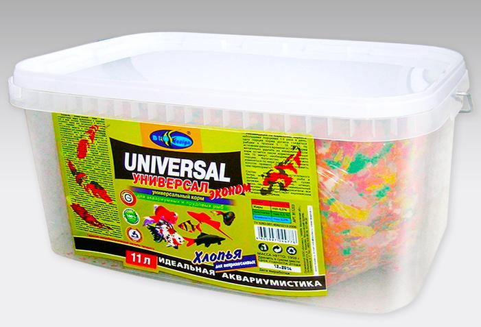 УНИВЕРСАЛ ЭКОНОМ хлопья (flake) основной универсальный корм для неприхотливых видов рыб (ВЕДРО 11 литров) 911203
