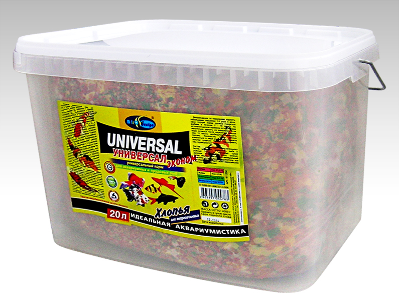 УНИВЕРСАЛ ЭКОНОМ хлопья (flake) основной универсальный корм для неприхотливых видов рыб (ВЕДРО 20 литров) 911204