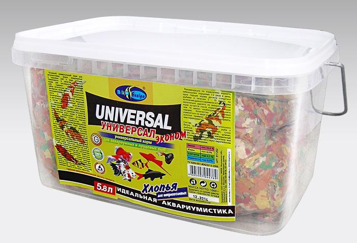 УНИВЕРСАЛ ЭКОНОМ хлопья (flake) основной универсальный корм для неприхотливых видов рыб (ВЕДРО 5,8 литров) 911202