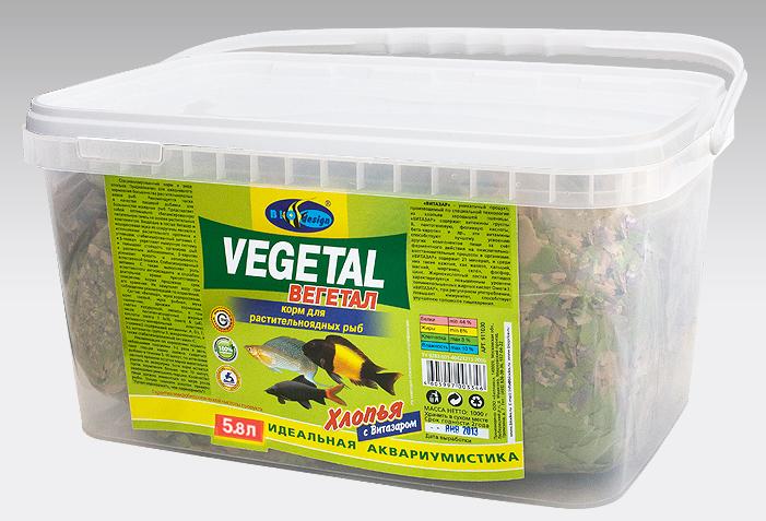 ВЕГЕТАЛ хлопья (flake) универсальный корм для растительноядных рыб (ВЕДРО 5,8 литров) 911030