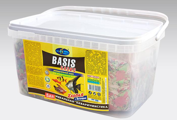 БАЗИК хлопья (flake) универсальный корм для всех видов рыб (ВЕДРО 5,8 литров) 911005
