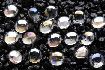 Камни декоративные перламутровые прозрачные 10 мм (сетка 90 шт) AG10