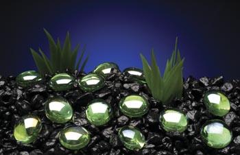 Камни декоративные перламутровые зеленые 10 мм (сетка 90 шт) AG9
