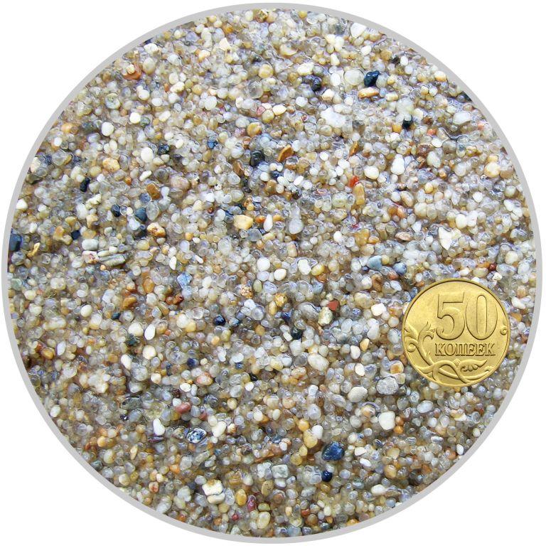 Грунт окатанный кварцевый песок желтый размер 0,8-2 мм (пакет 4л.) 5 кг 916196/5
