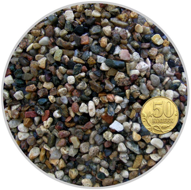 Грунт гравий карьерный трехцветный размер 6-8 мм (пакет 4л.) 5 кг 916199/5
