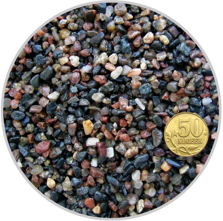 Грунт гравий гранитный красно-черный размер 2-5 мм (пакет 4л.) 5 кг 916200/5