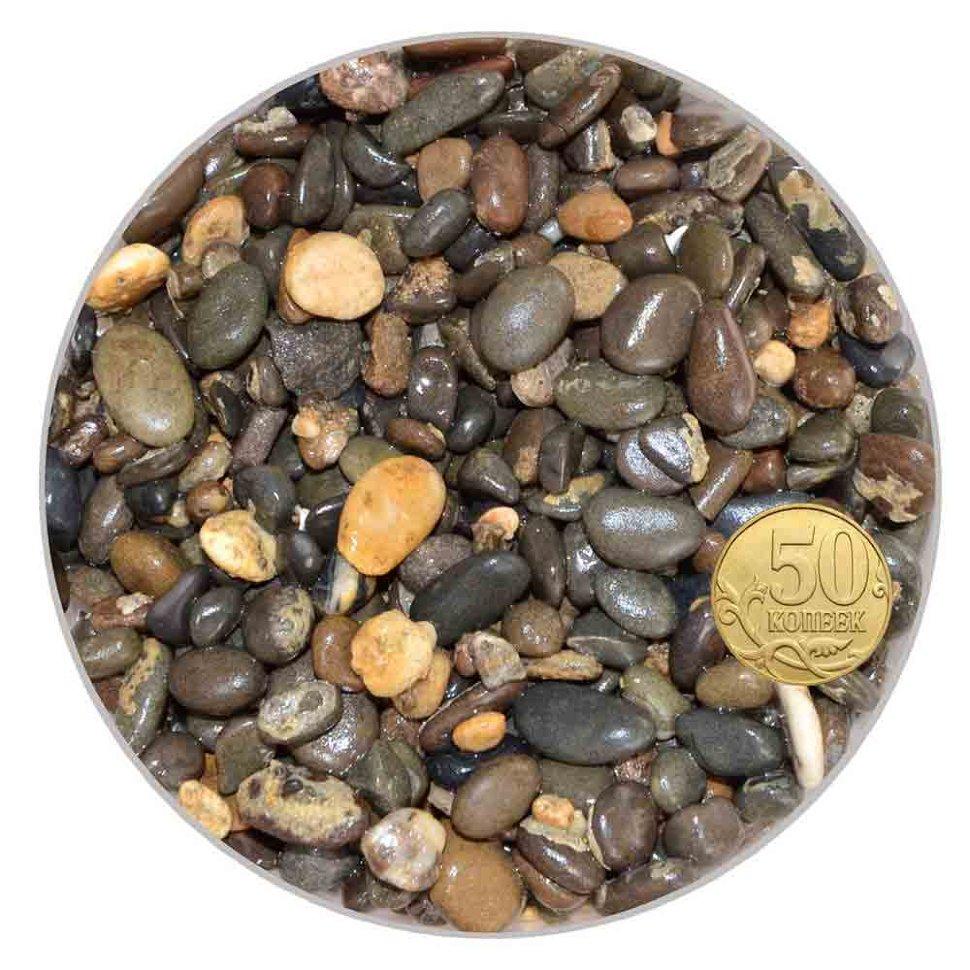 Грунт галька морская 7-10 мм бело-черно-коричневая (пакет 4л.) 5 кг 916001/5/10