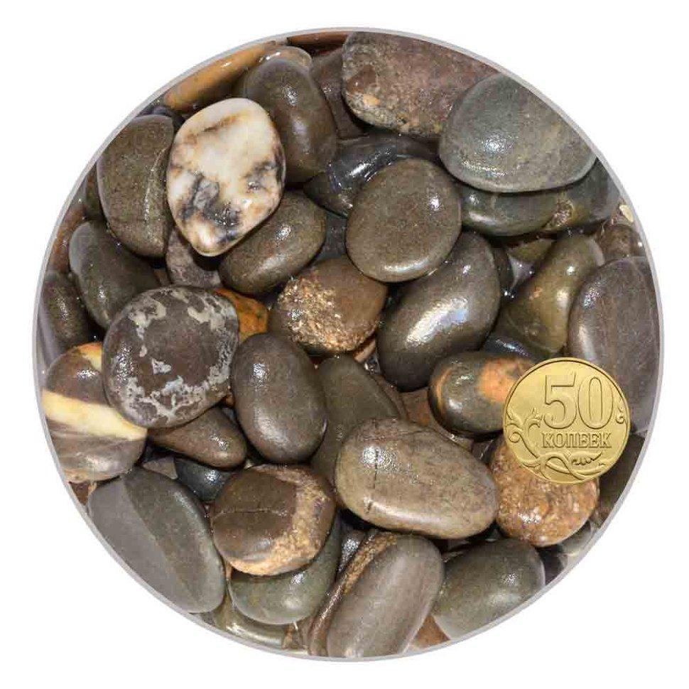 Грунт галька морская 15-25 мм бело-черно-коричневая (пакет 4л.) 5 кг 916003/5