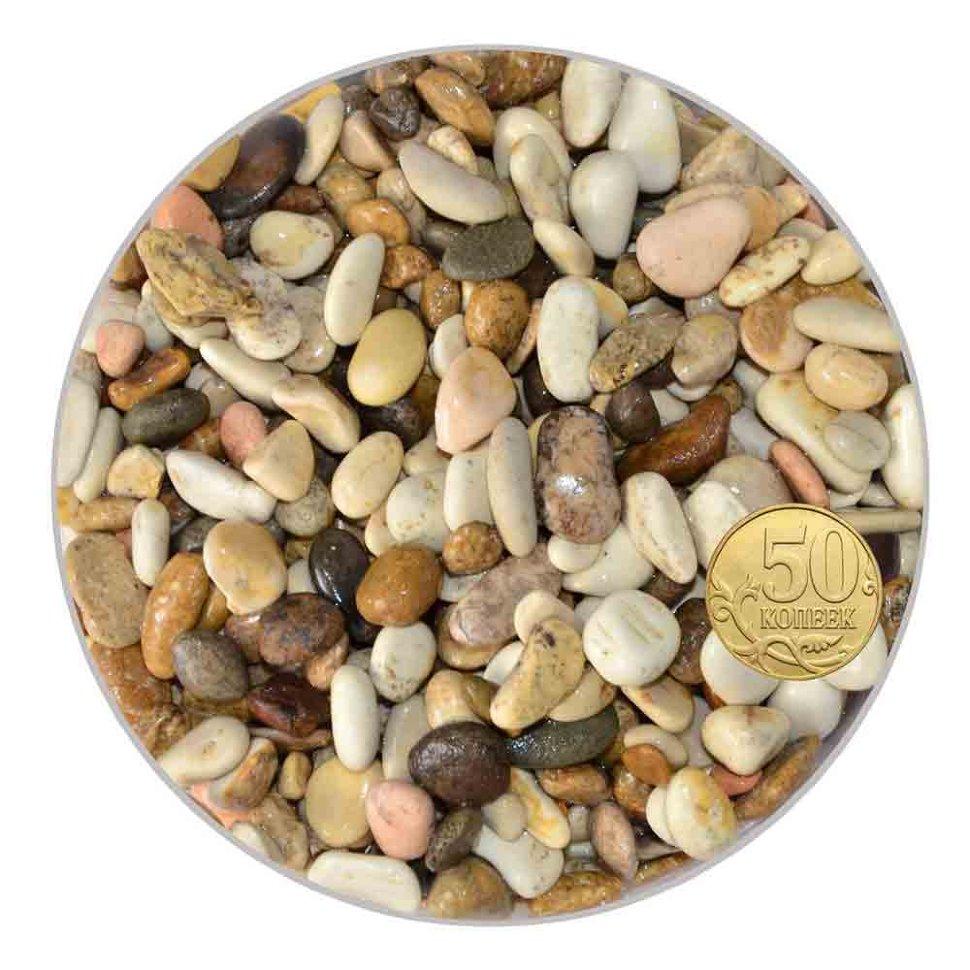 Грунт для аквариума галька морская 7-10 мм бело-коричневая (пакет 4л.) 5 кг 916169/5/10