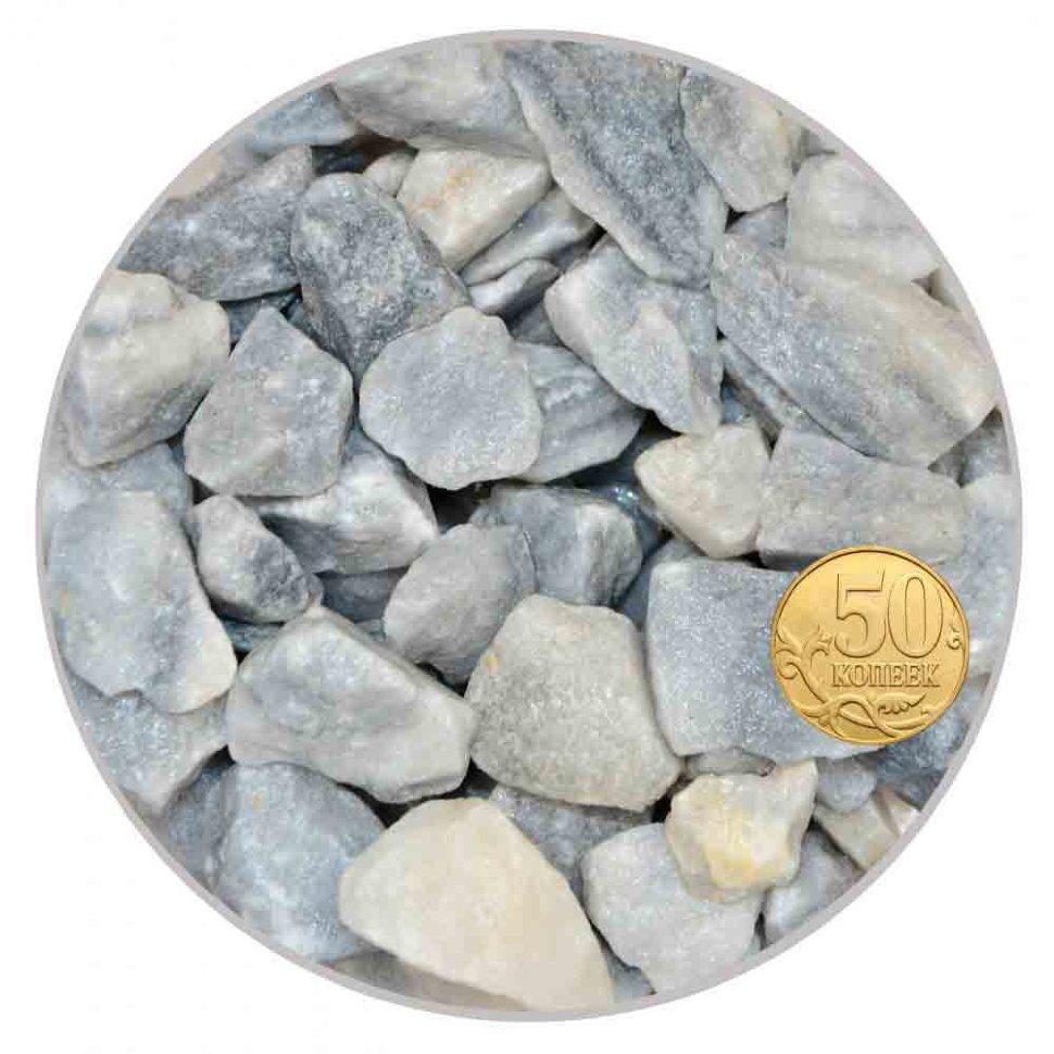 Грунт мрамор серо-голубой 10-20 мм (пакет 4л.) 5 кг 916206/5